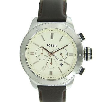 Fossila mäns klocka kronograf armbandsur läder BQ1052
