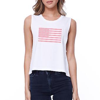 Pink Flag Breast Cancer Womens White Crop Tee Shirt Sleeveless