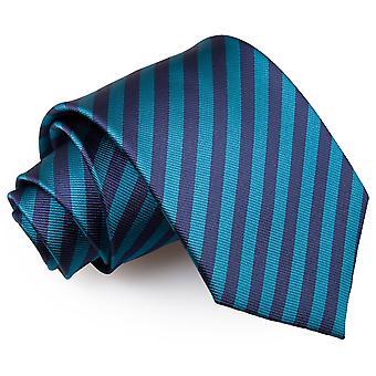 Granatowy & turkusowy cienki pasek klasyczny krawat