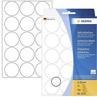 Herma 2270 Sticky dots Ø 32 mm White 480 pc(s) Permanent Paper