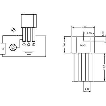 PIC Hall effect sensor H501 3.8 - 24 V DC Reading range: +4 - +35 mT TO-92-UA Soldering