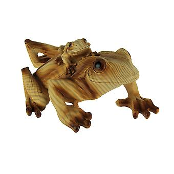 Faux Carved Wood Look Tree Frog and Baby Statue