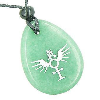 アンクの生活精神の翼漢字魔法幸運お守りアベンチュリン トーテム ネックレスのエジプト力