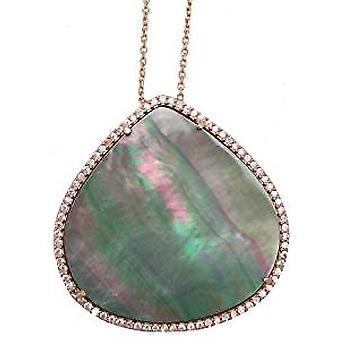 Natürliche grüne Perle rose vergoldete Halskette