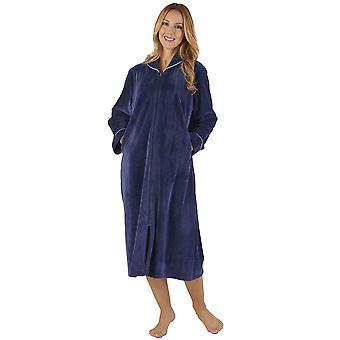 Slenderella GL2791 Women's Luxury Velvet Dressing Gown Loungewear Bath Robe Robe