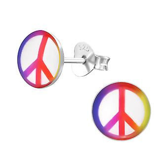Peace - 925 Sterling Silver Colourful Ear Studs - W19702X