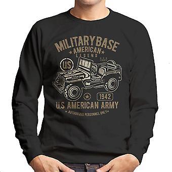 軍事基地アメリカ軍ジープレトロロゴメンズスウェットシャツ