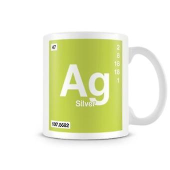 Wetenschappelijke bedrukte Mok met Element symbool 047 Ag - zilver