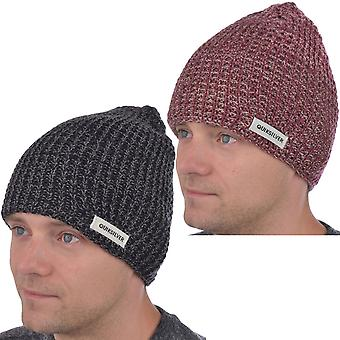 Quiksilver Mens Dual Tone Warm Winter Thick Knitted Skullie Beanie Hat