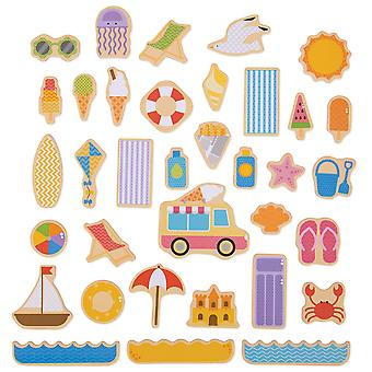 Bigjigs Toys Wooden Seaside Magnets (35 Pieces) Educational Story Board Learn