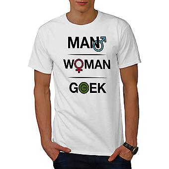 Funy Geek Power Men WhiteT-shirt | Wellcoda