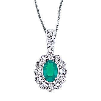 LXR 14k White Gold Emerald and Diamond Oval Pendant 0.55ct