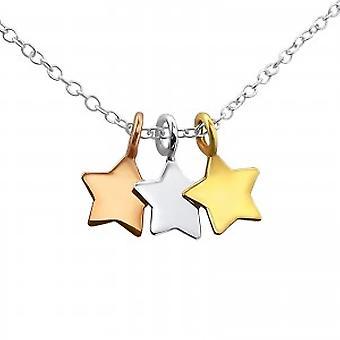 Dziewczyn 925 sterling silver 3-gwiazdkowy naszyjnik