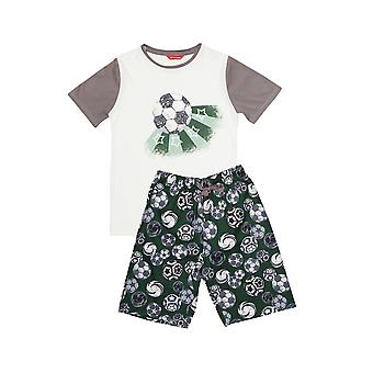 Minijammies 6363 Boy's Alfie Grey Football Print Pyjama Set