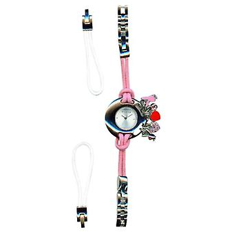 Playboy Pink Ladies Watch With Charms & PU Changeable White Strap Gift For Her