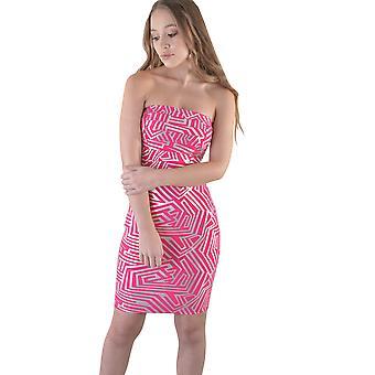 LMS kort Strapless Bandage jurk In roze en zilver