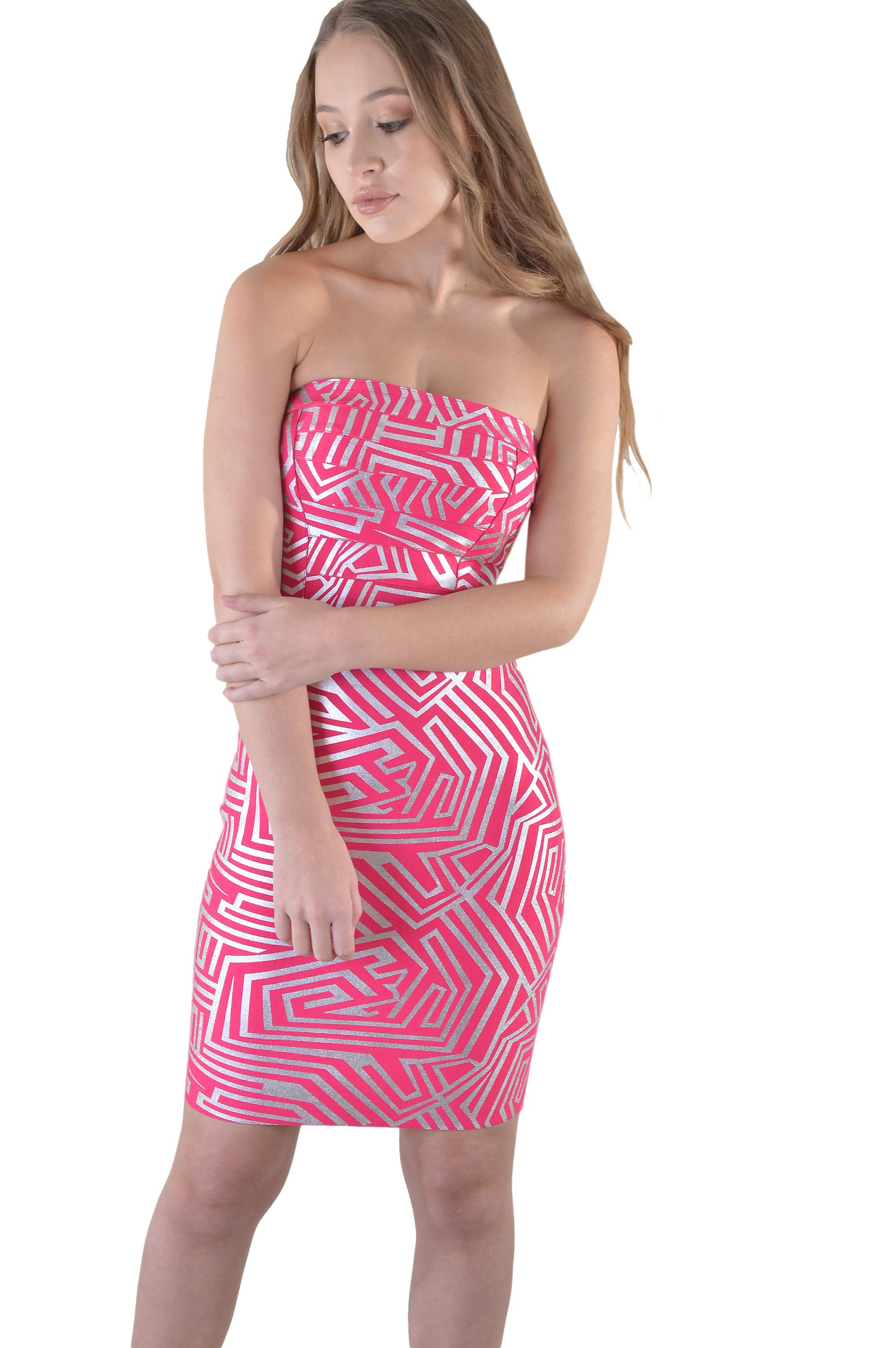 LMS Short Strapless Bandage Dress In Pink And Silver