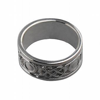 18ct White Gold 8mm Celtic Wedding Ring Size Q