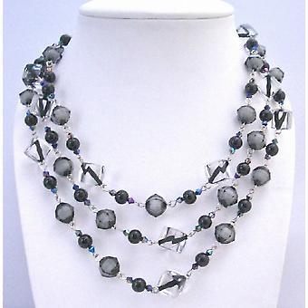 اللؤلؤ الأسود الماس الأسود بلورات واضحة 60 بوصة قلادة طويلة