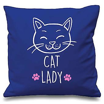 Blue Cushion Cover Cat Lady 16