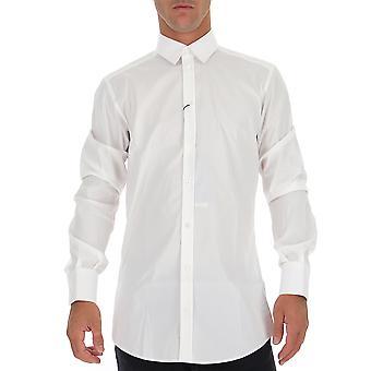 Dolce E Gabbana G5ej0tfumryw0800 Män's vit bomullsskjorta