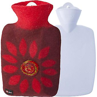 Hugo Frosch Classic Hot Water Bottle Wool Cover Flower 1.8L