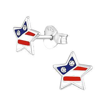 Children's Sterling Silver USA Star Stud Earrings