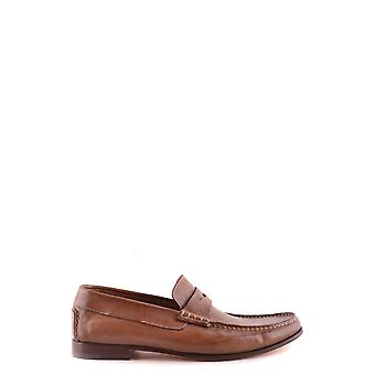 Santoni Ezbc023007 Men's Brown Leather Loafers