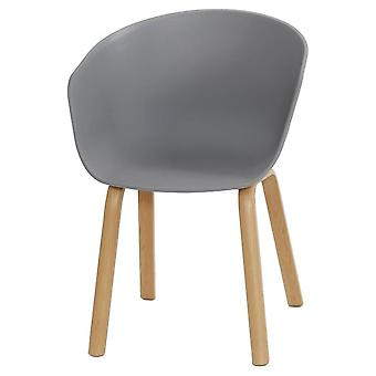 Fusion Living Eiffel Inspired Grey Plastic Armchair With Light Wood Legs