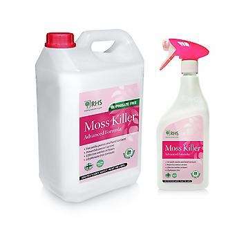 RHS Moss killer 1L + 5L Glyphosate free formula for Paths, patios and more