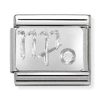 Nomination Classic Virgo Zodiac Steel, CZ and 925 Silver Link Charm 330302/06