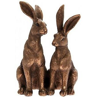 Bronzed Sitting Hares Ornament