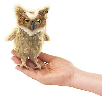 Finger Puppet - Folkmanis - Mini Great Horned Owl New Animals Doll Plush 2752