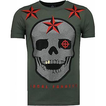 Rough Player Skull - Rhinestone T-shirt - Green
