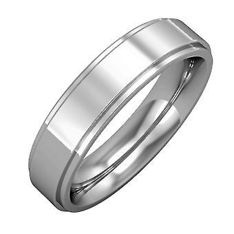 Jewelco London Platinum - Impegno 5mm Premium Flat Court Step Cut Band Impegno / Anello di nozze