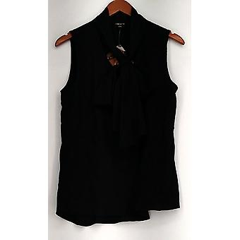Iman Top Sleeveless Polyester Blouse Tie Front Black Womens