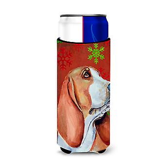 Basset Hound Red and Green Snowflakes Holiday Christmas Ultra Beverage Insulator