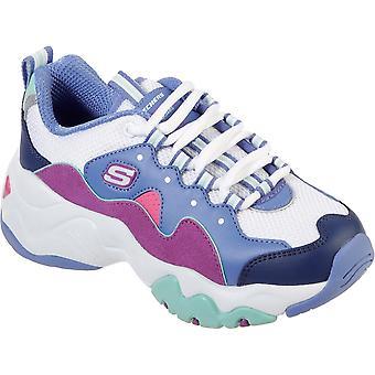 Skechers Girls D'Lites 3.0-Zenway Wavy Lace Up Trainer Shoes