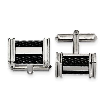 Titanium Polished IP black plated Black plated Wire Cuff Links Jewelry Gifts for Men
