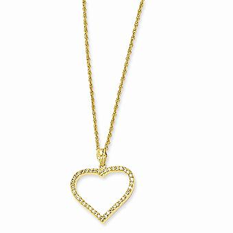 14k Gold Plated Gift Boxed Spring Ring CZ Cubic Zirconia Simulated Diamond Love Heart Necklace 18 Inch Jewely Gifts for