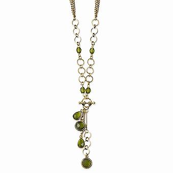 Decorative Toggle Fancy Lobster Closure Brass tone Green Crystal e Acrílico Beads 16inch With Ext Y Necklace Jewely Gi