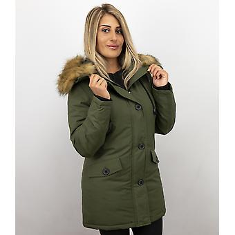 Winter coat With Fur Collar - Green Parka