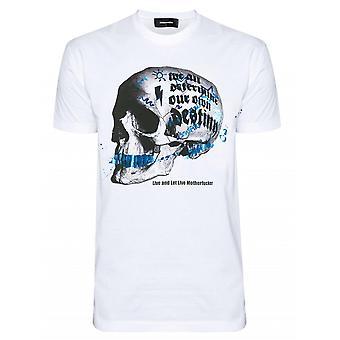 DSQUARED2 Graphic Skull Logo White T-Shirt