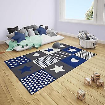 Short floral children's carpet patchwork star heart points