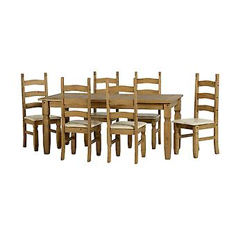 Corona 6' Dining Set - Distressed Gewachste Kiefer/Creme Pu
