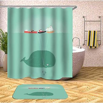 Baby Whale's Ship Balloons Shower Curtain