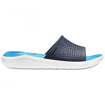 Crocs 205183 Literide Slide Mens Slider Mules Navy/white