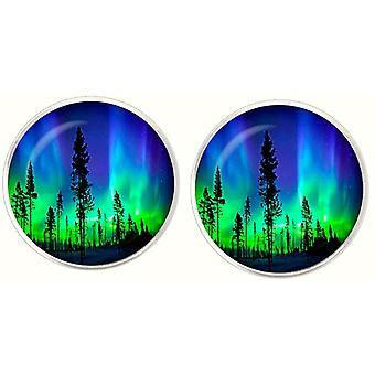 Bassin ja ruskeat pohjoiset valot kalvosinnapit-sininen/vihreä