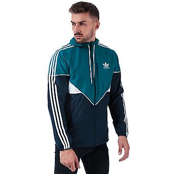 Herre Adidas Originals Premiere Windbreaker jakke i blå-zip fastgørelse-zip