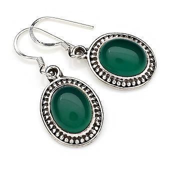 Vihreä Onyx korva korut 925 hopea Sterling hopea korva korut vihreä (MOH 101-14)